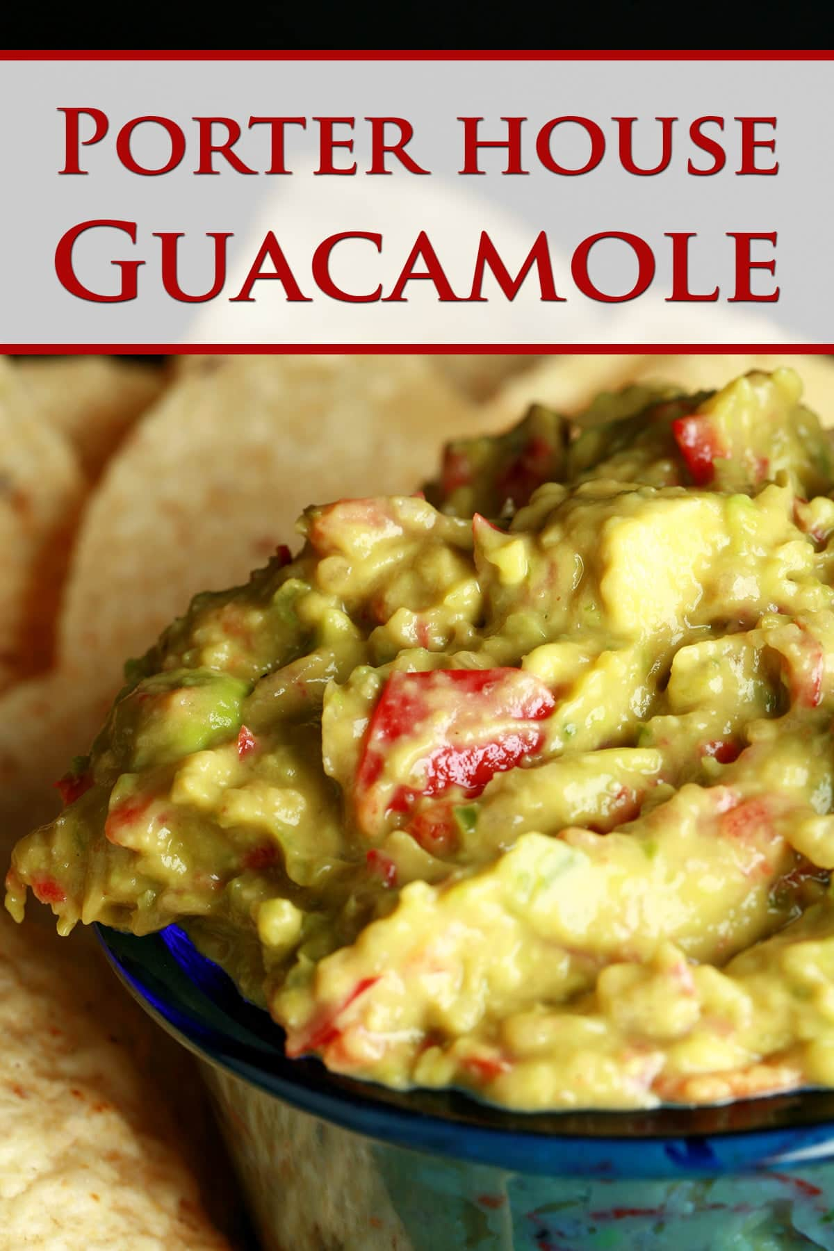 """A close up view of a bowl of """"Porter House Guacamole"""""""
