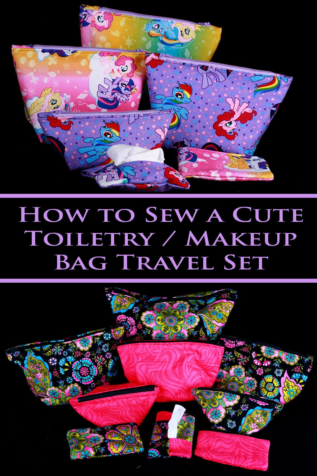 A large travel and makeup bag set - 4 bags of various sizes, a coin purse, and a tissue holder - are shown in front of a black background. The fabrics are a purple and rainbow, printed with a My Little Pony design.