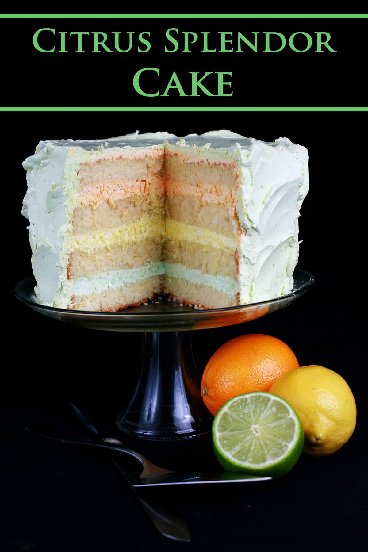 A sliced into citrus splendor cake is shown on a raised plate, with an orange, lemon, and half a lime sitting at the base of the cake stand.