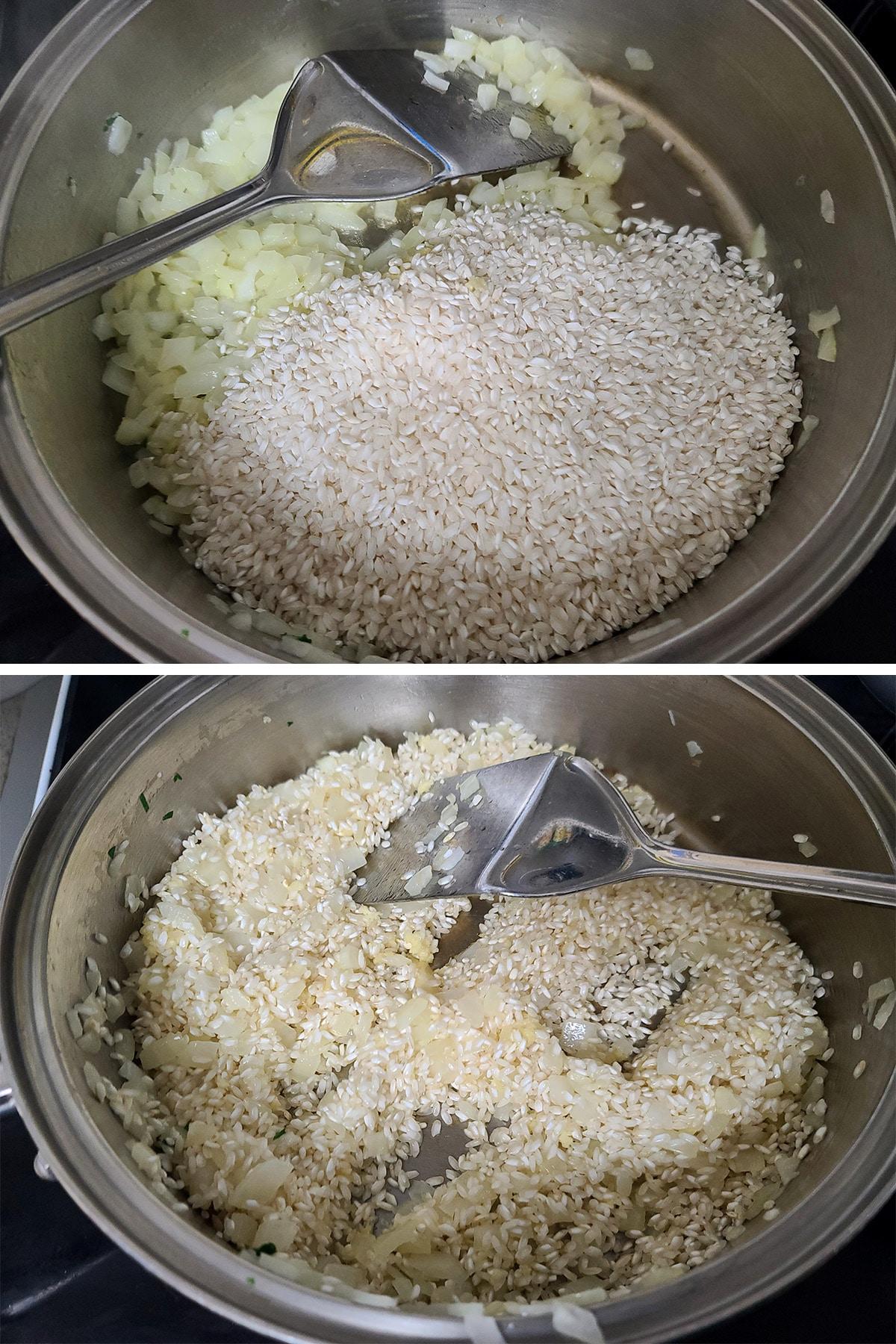 Rice in a large metal pan.