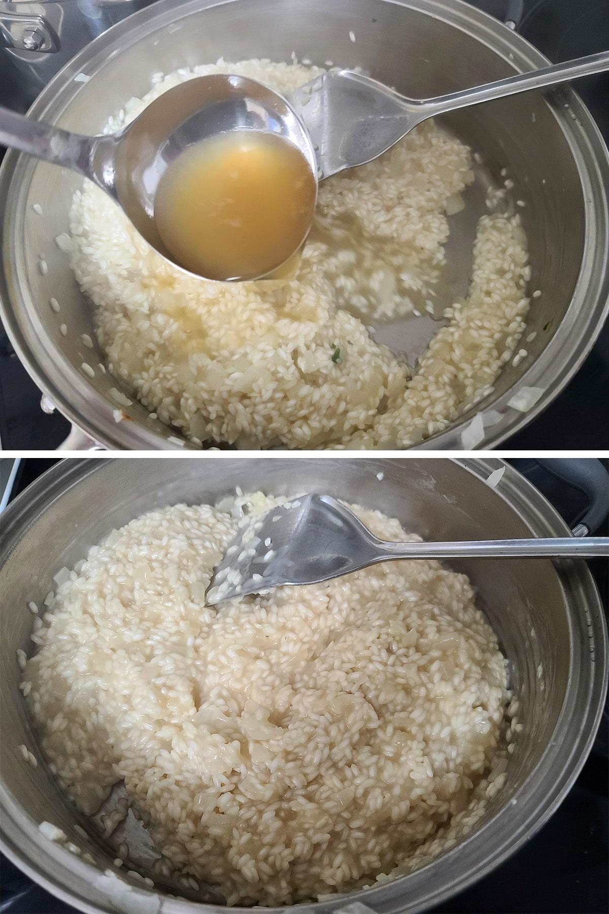 Rice and broth in a large metal pan, being stirred.