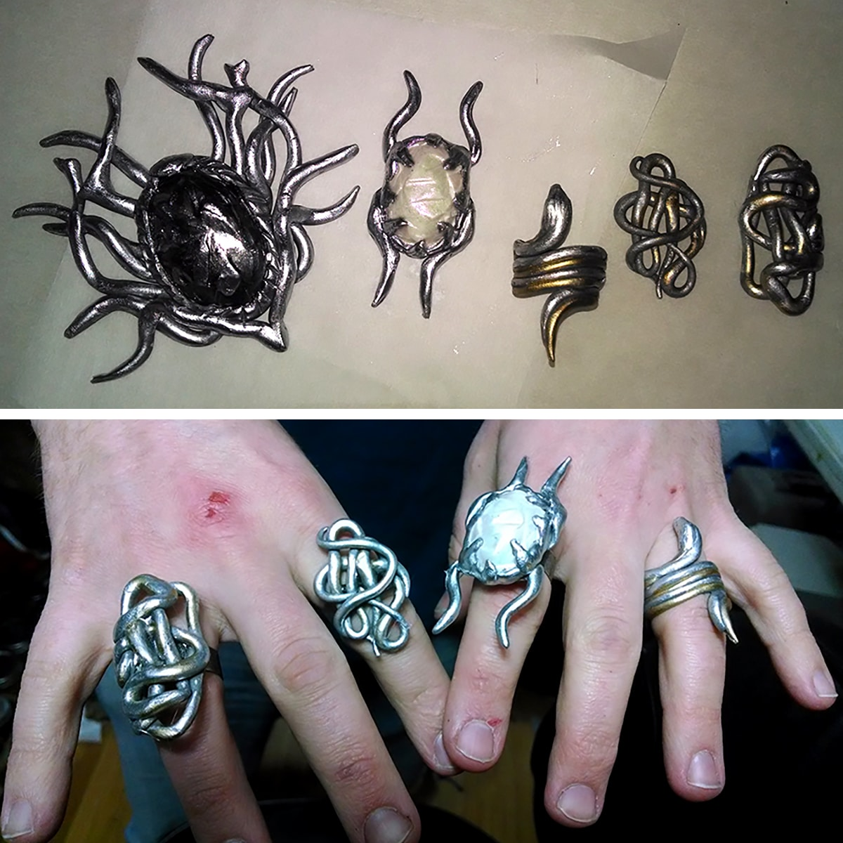 Various items of Thranduil's jewelery, laid out on a table and then shown on a man's hands.