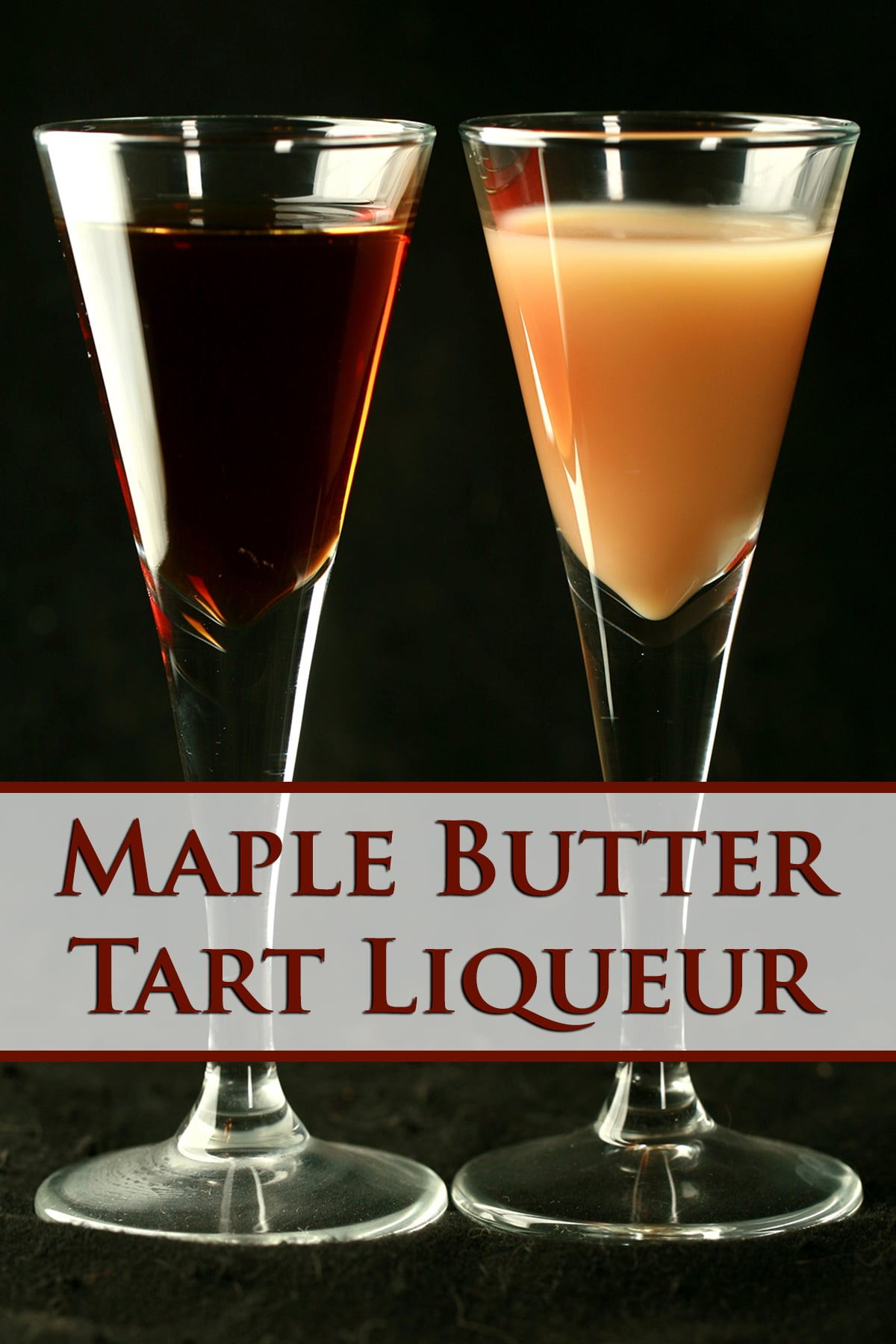 Two tall, fluted shot glasses. One has maple butter tart liqueur in it, the other has maple butter tart creme liqueur in it.