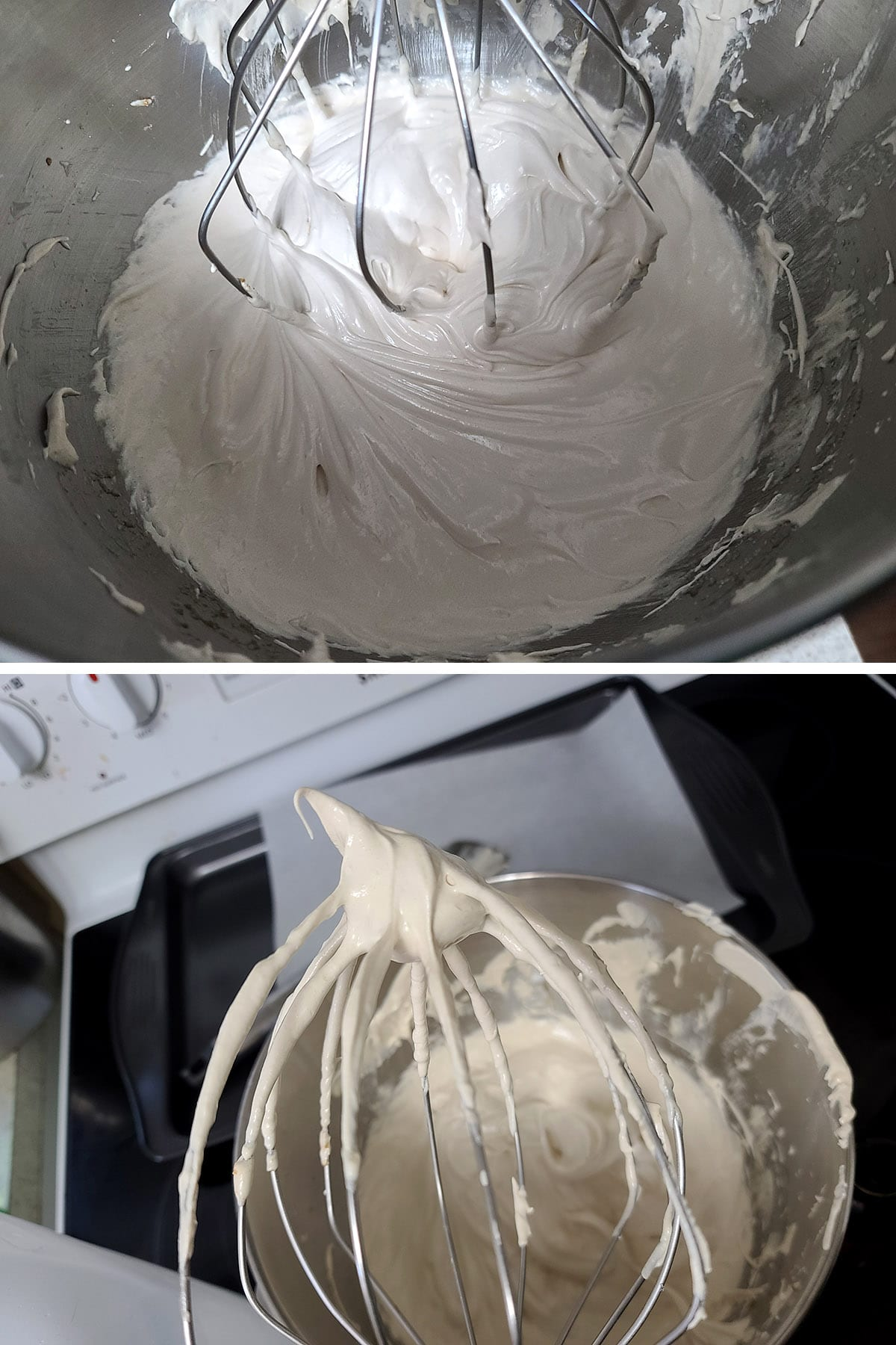 A pale ivory meringue being whipped in a stand mixer, and the whisk being held up to show the stiff peak.
