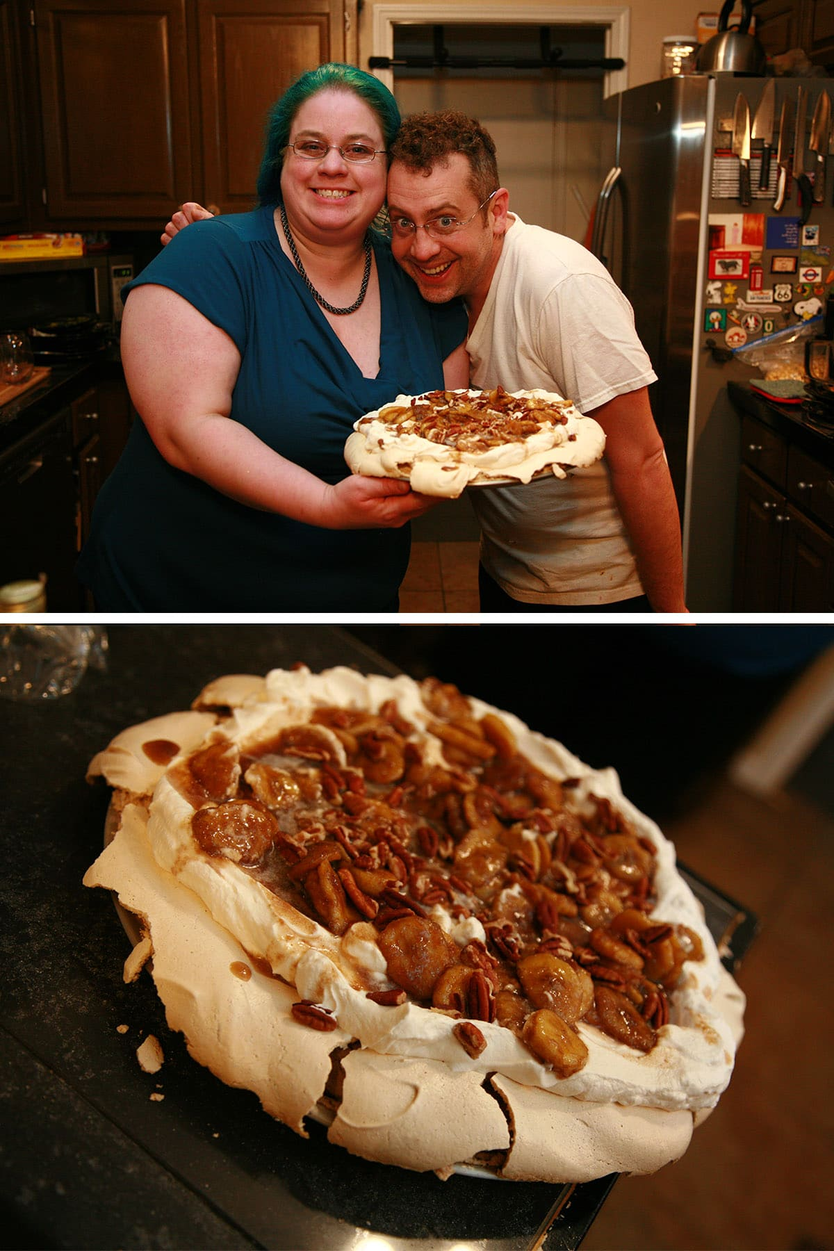 Ben Starr and Marie Porter hugging while presenting a bananas foster pavlova.