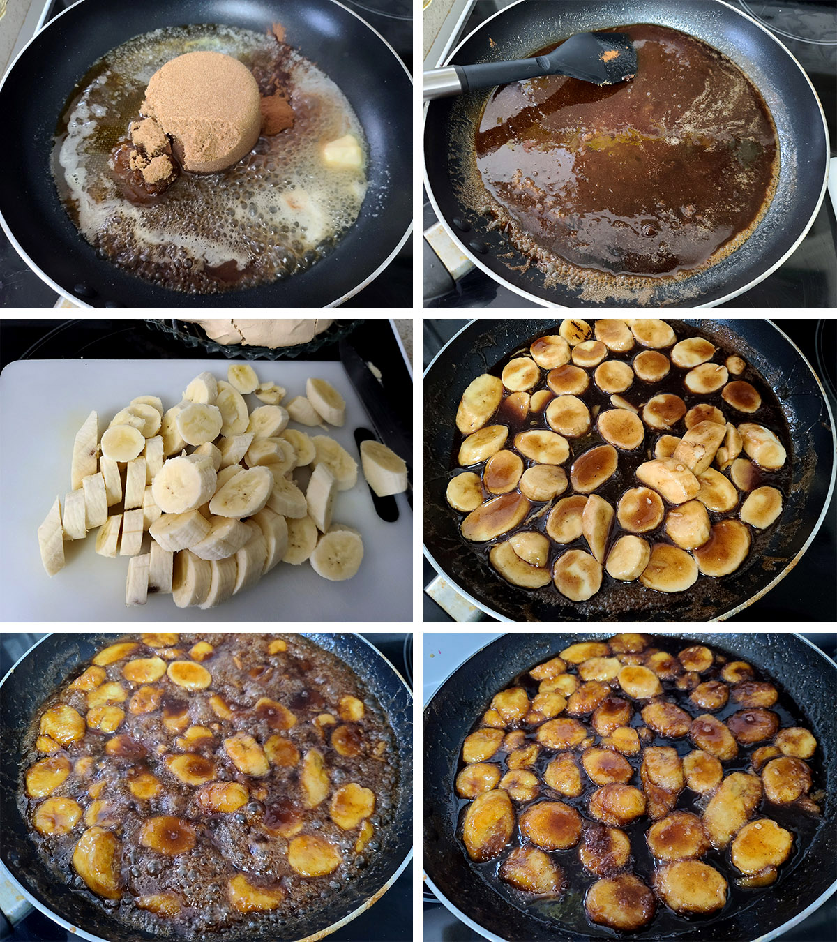 A 6 part image showing bananas foster being made in a pan, as described.