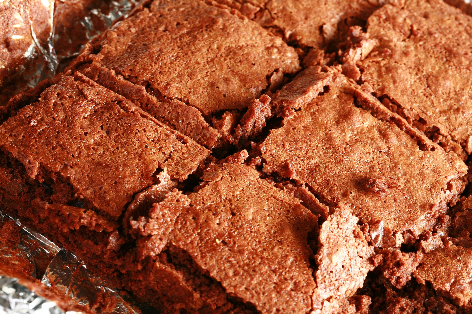 A close up photo of a pan of convention brownies.