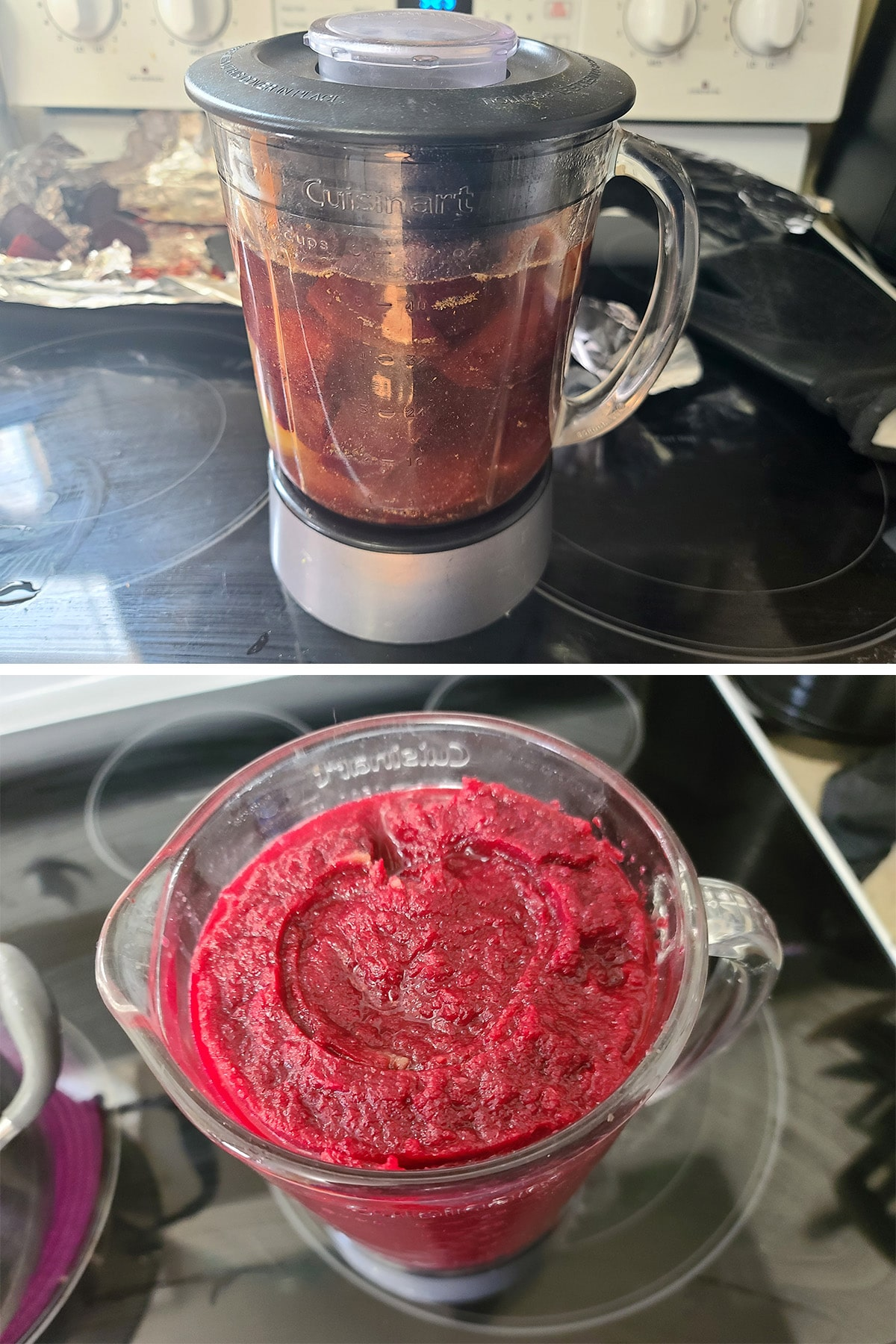 All of the ingredients in a blender, before and after blending.
