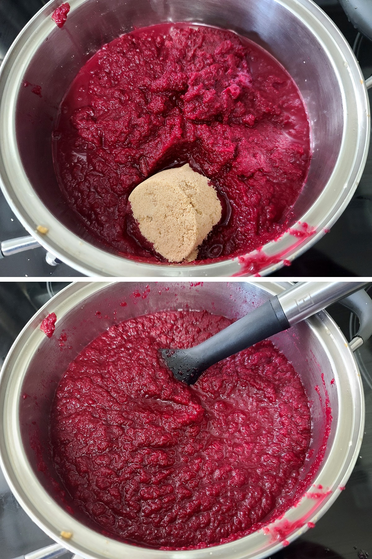 Brown sugar is added to the pot of ketchup and stirred in.