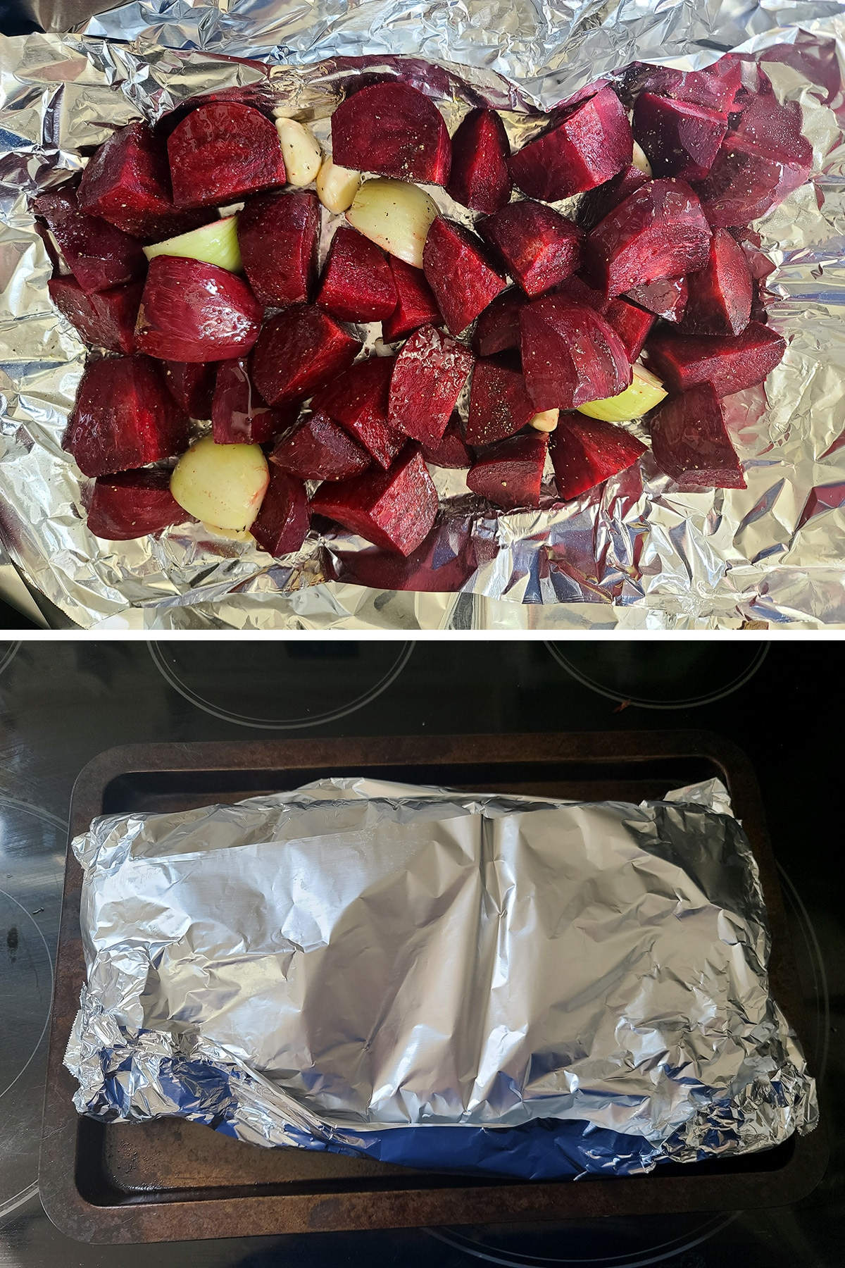 The beets, onions, and garlic have been tossed with oil, salt and pepper, and are wrapped in foil.