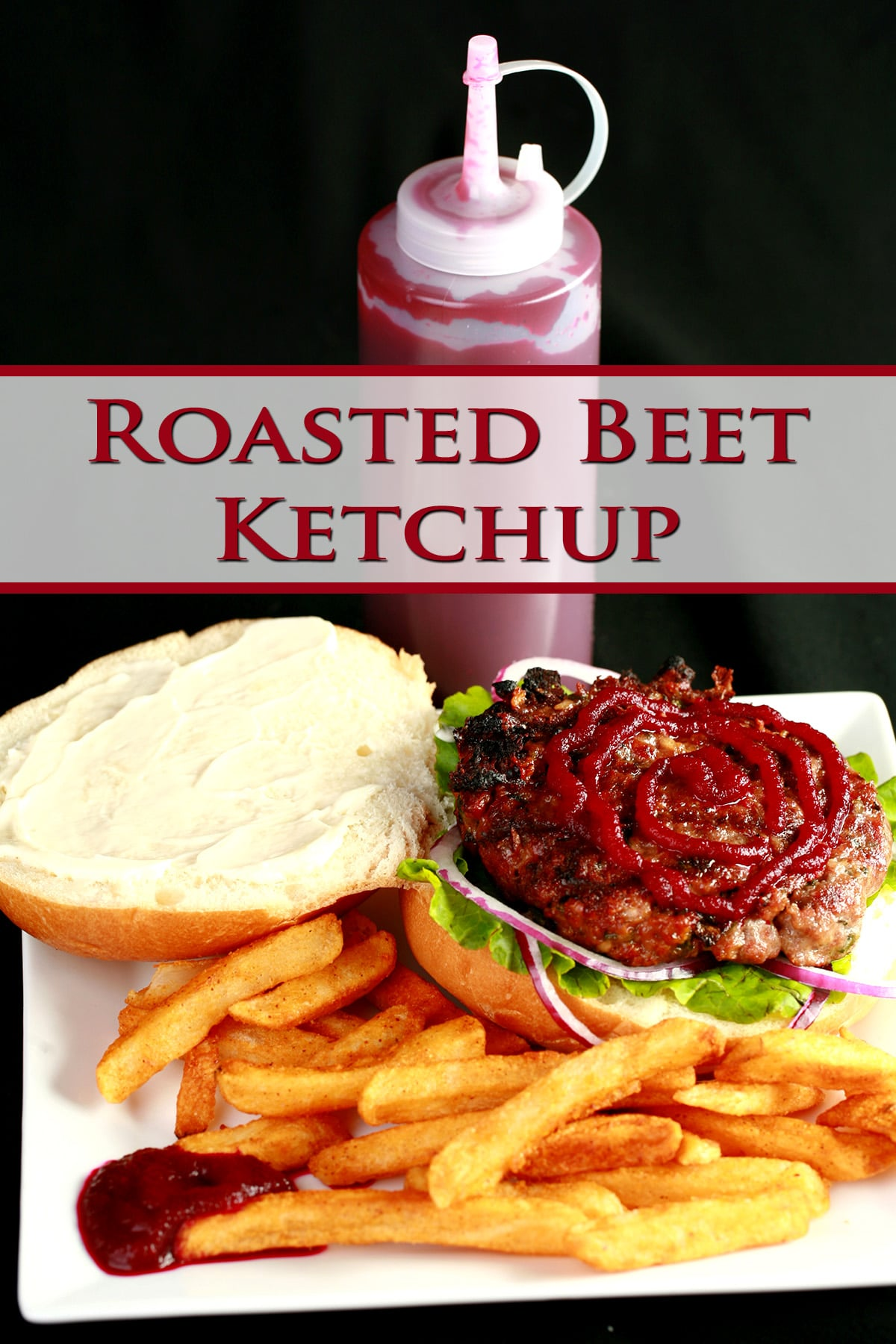 An open faced burger on a plate with fries. The burger has a large ruby red swirl of beet ketchup on it, and there's a bottle of the same, behind the plate.