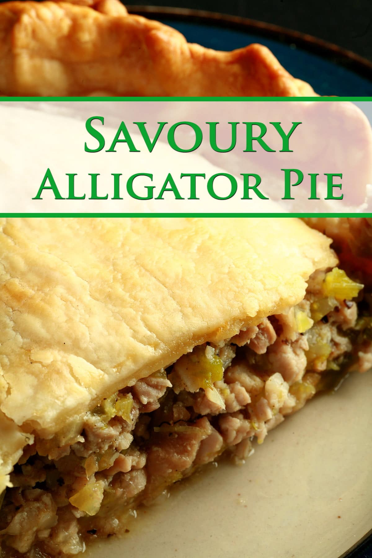 A slice of alligator pie, on a small white plate. The filling shows chunks of meat and vegetables, like celery.