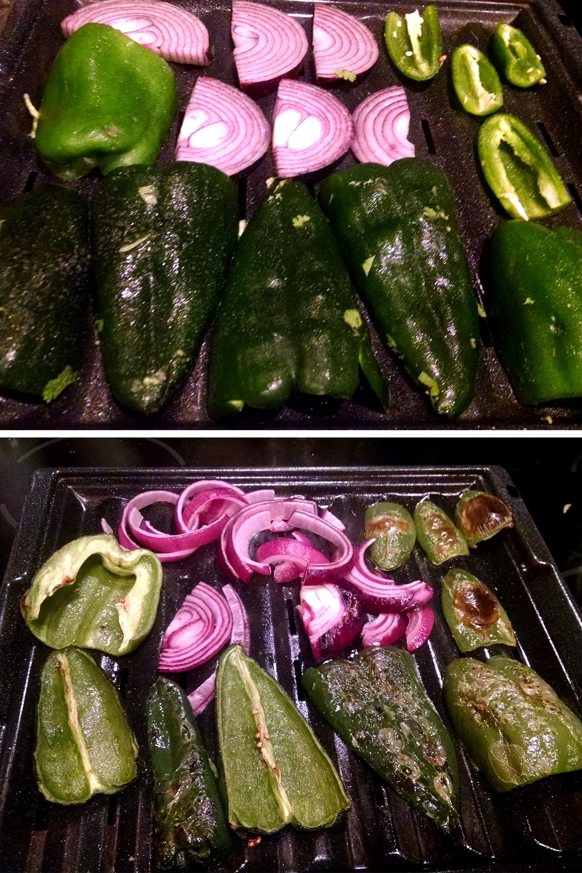Halved poblanos, green bell peppers, and jalapenos, along with slices of red onion, on a broiler tray.