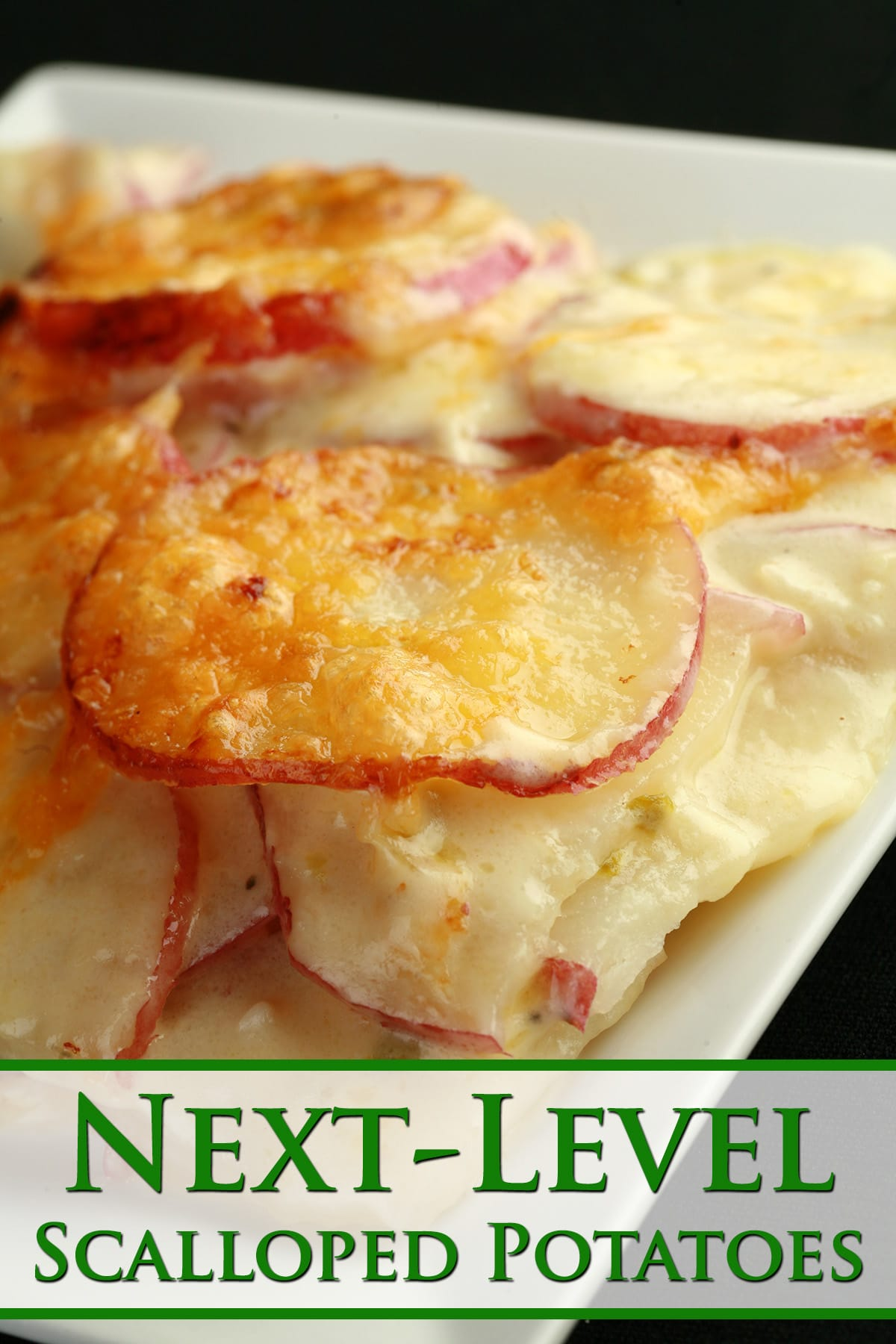 A close up view of a plate of next-levek scalloped potatoes. Bits of Jalapeno are visible in the white sauce.