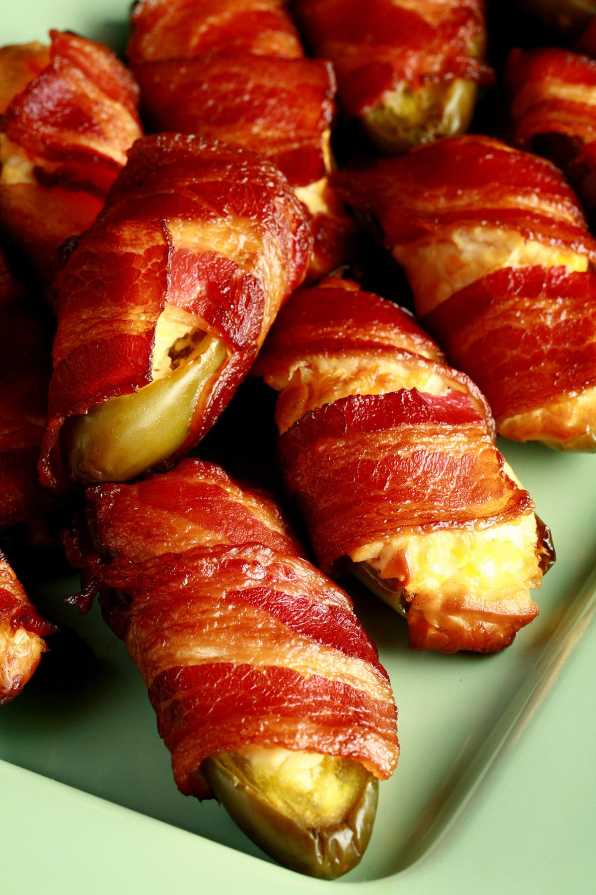 A close up view of smoked jalapeno poppers.