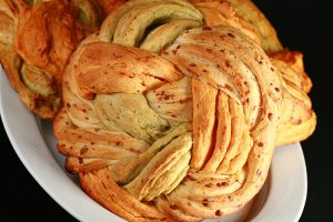 Basil, Roasted Red Pepper, and Asiago Bread Braid