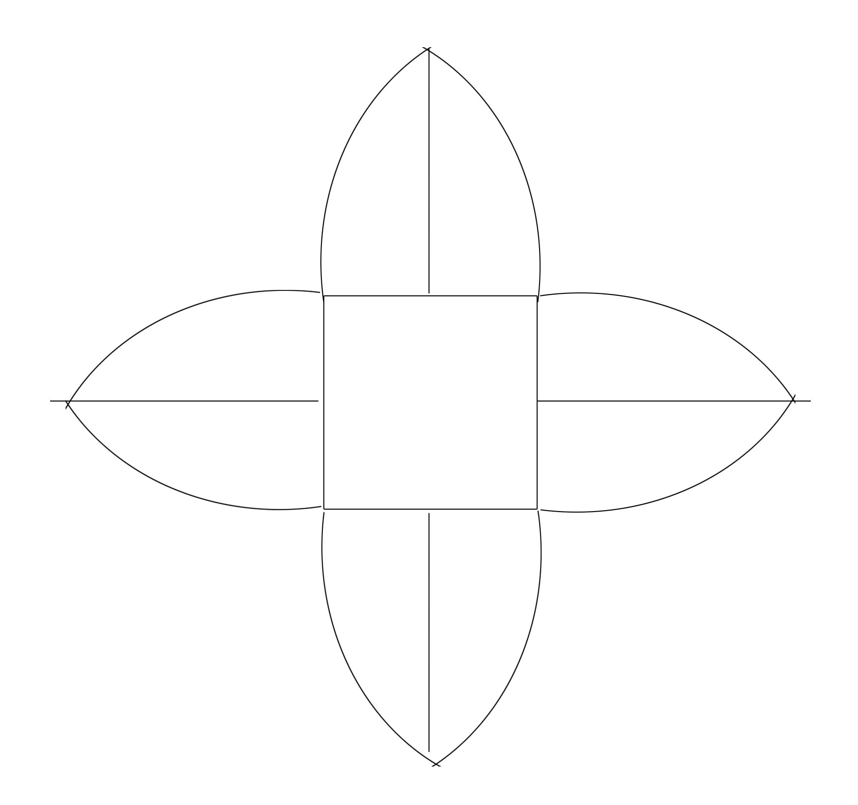 """An illustration of the Mallorn leaf template. Line drawing of a square with 4 """"leaves"""" radiating out from it."""