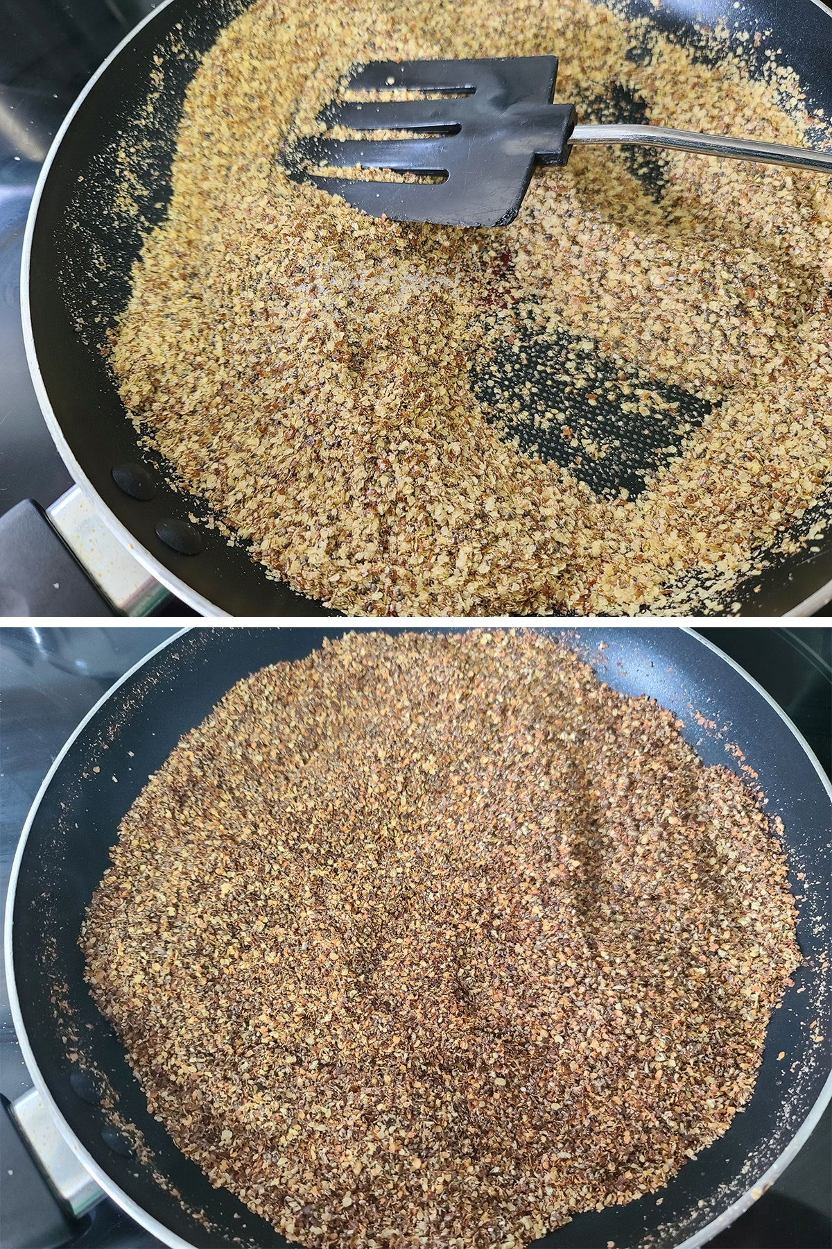 A two part image showing the colour progression of the yogurt topping, as it toasts.