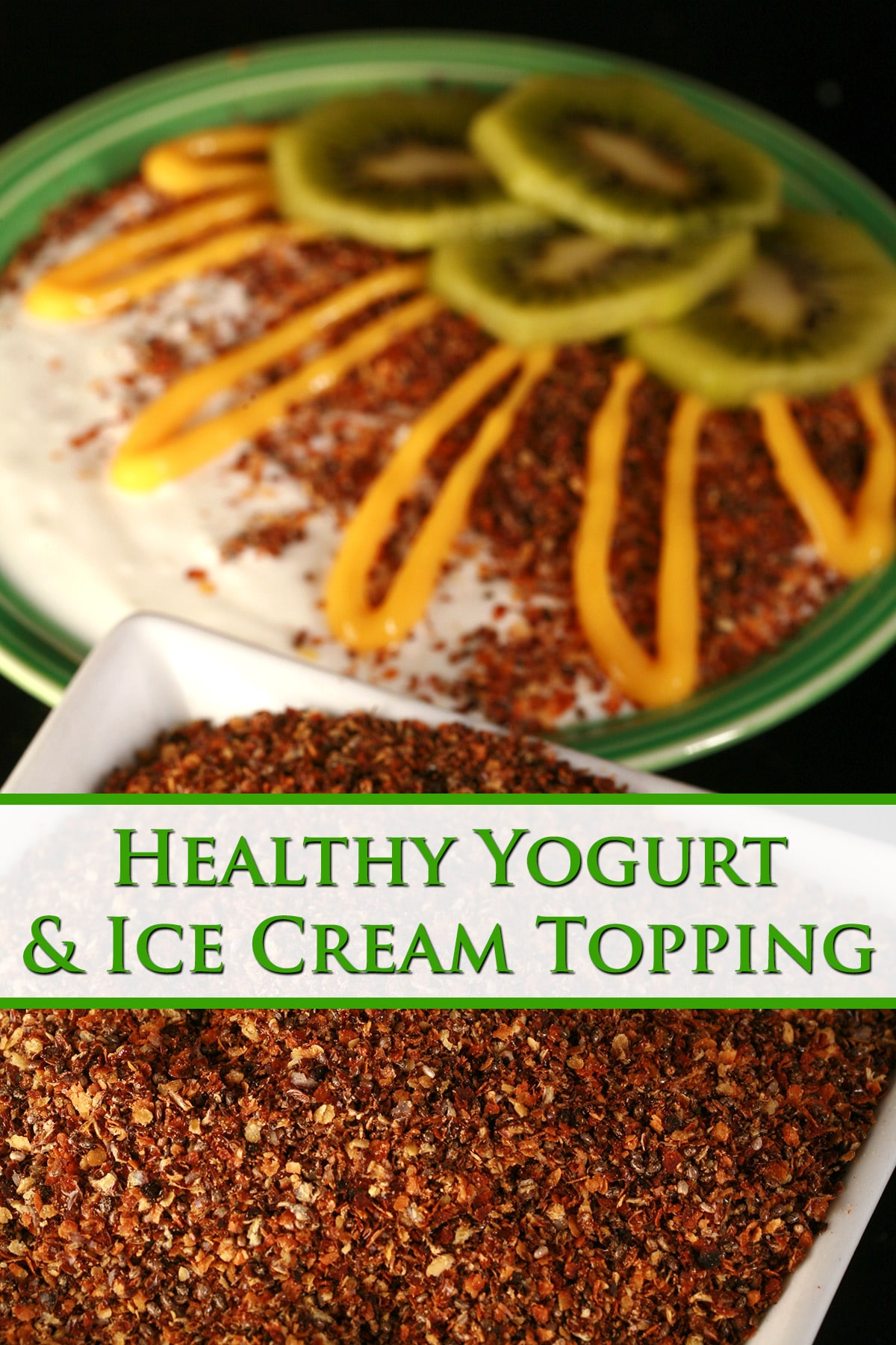 A bowl of vanilla yogurt, topped with our yogurt and ice cream topping, sliced kiwi, and a drizzle of mango curd.