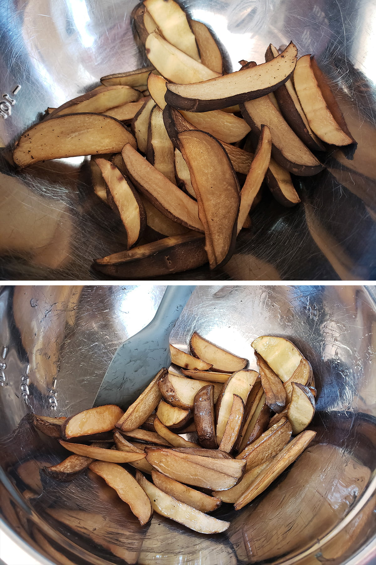 A two part compilation image showing smoked potato wedges, before and after being tossed with oil.