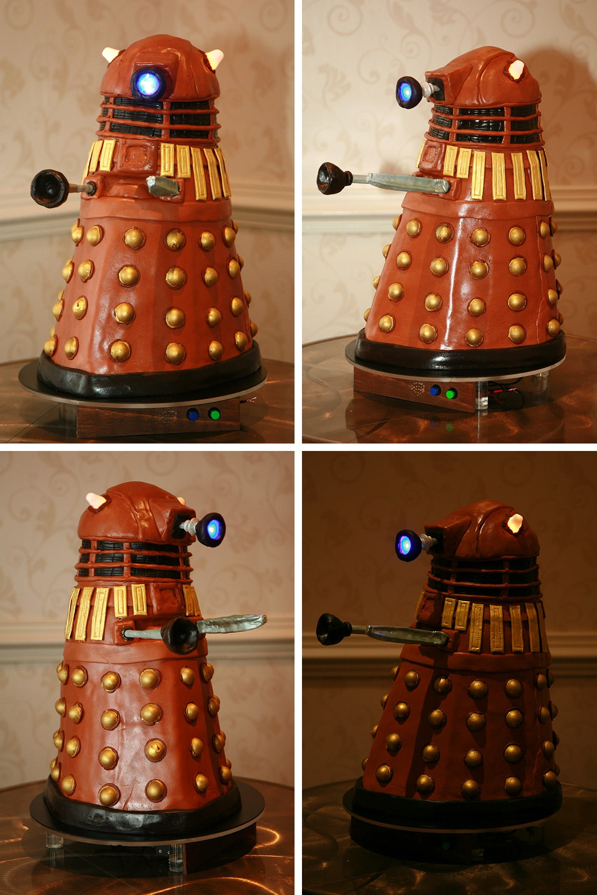 A 4 part image showing different views of the dalek cake.