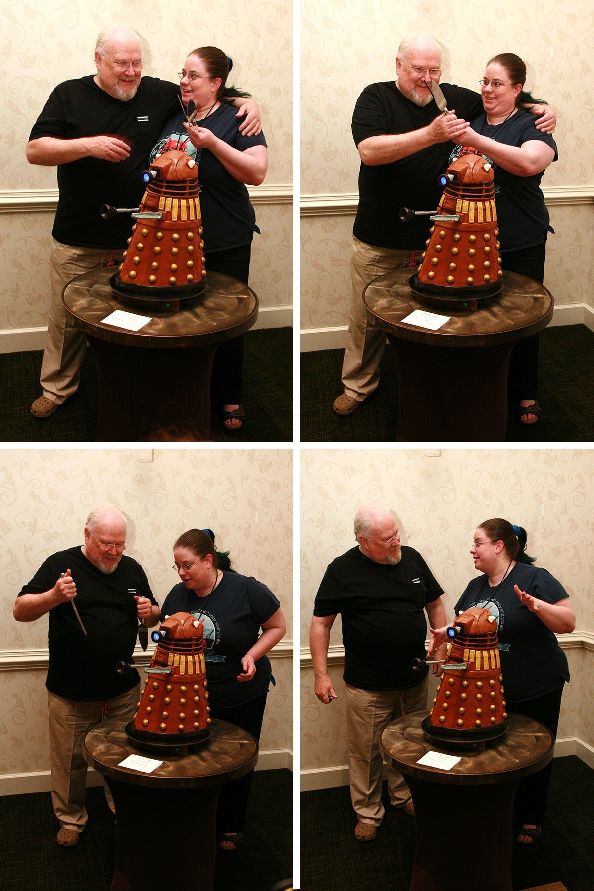 A 4 part image of Marie showing Colin Baker how to destroy a Dalek.