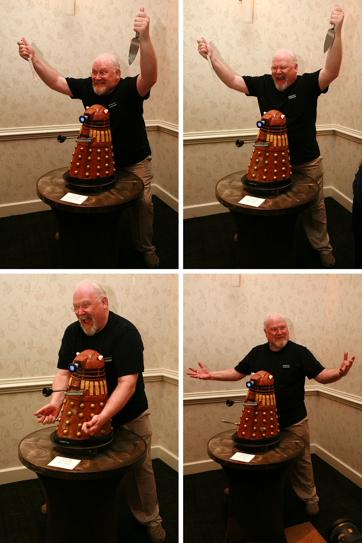 A 4 part image showing various views of Colin Baker joyously destroying a Dalek.