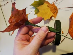 The Maple leaf rose is turned on its side, and floral tape is being applied to the length of the stem.