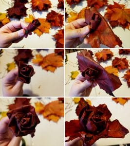A 6 photo collage showing the previous steps, but using red leaves this time.
