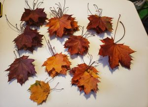 Several piles of maple leaves, sorted by size and colour.