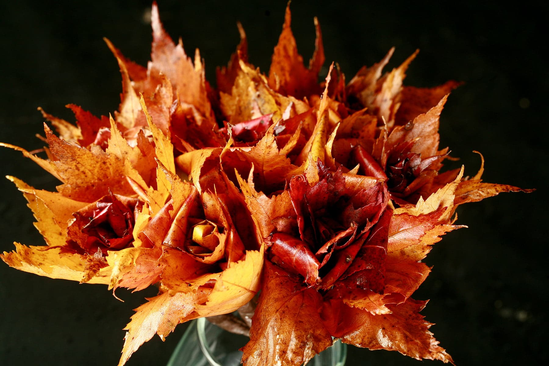 A bouquet of Maple Leaf Roses - roses that have been handcrafted from freshly fallen maple leaves.