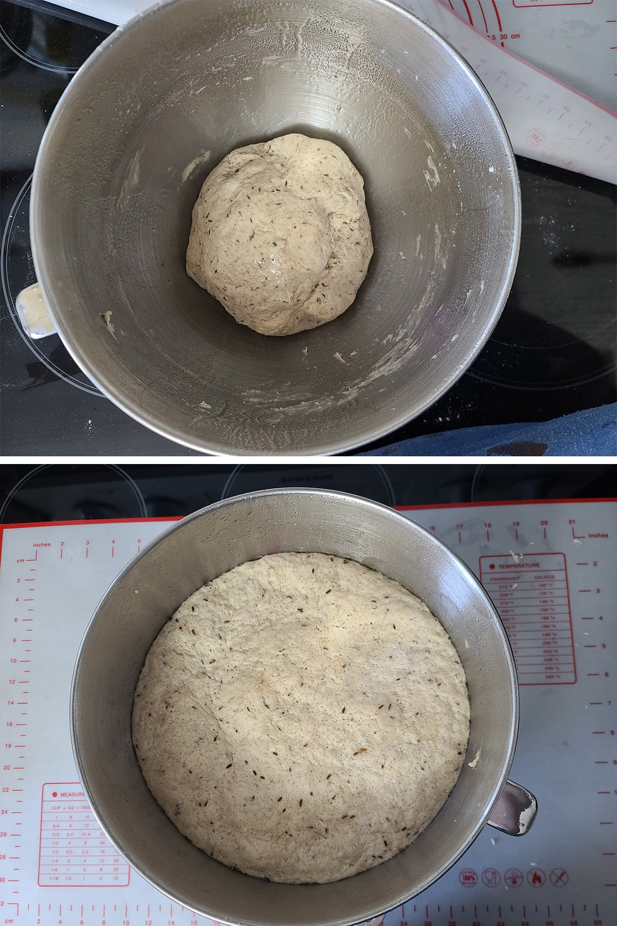 The ball of dough before and after rising.