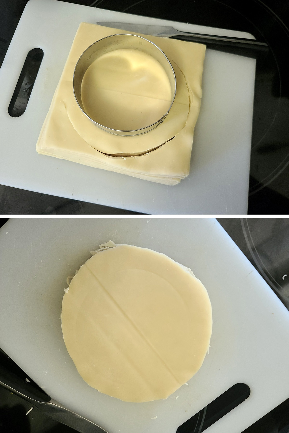 A two part image showing an english muffin ring being used to cut round wrappers out of egg roll square wrappers.