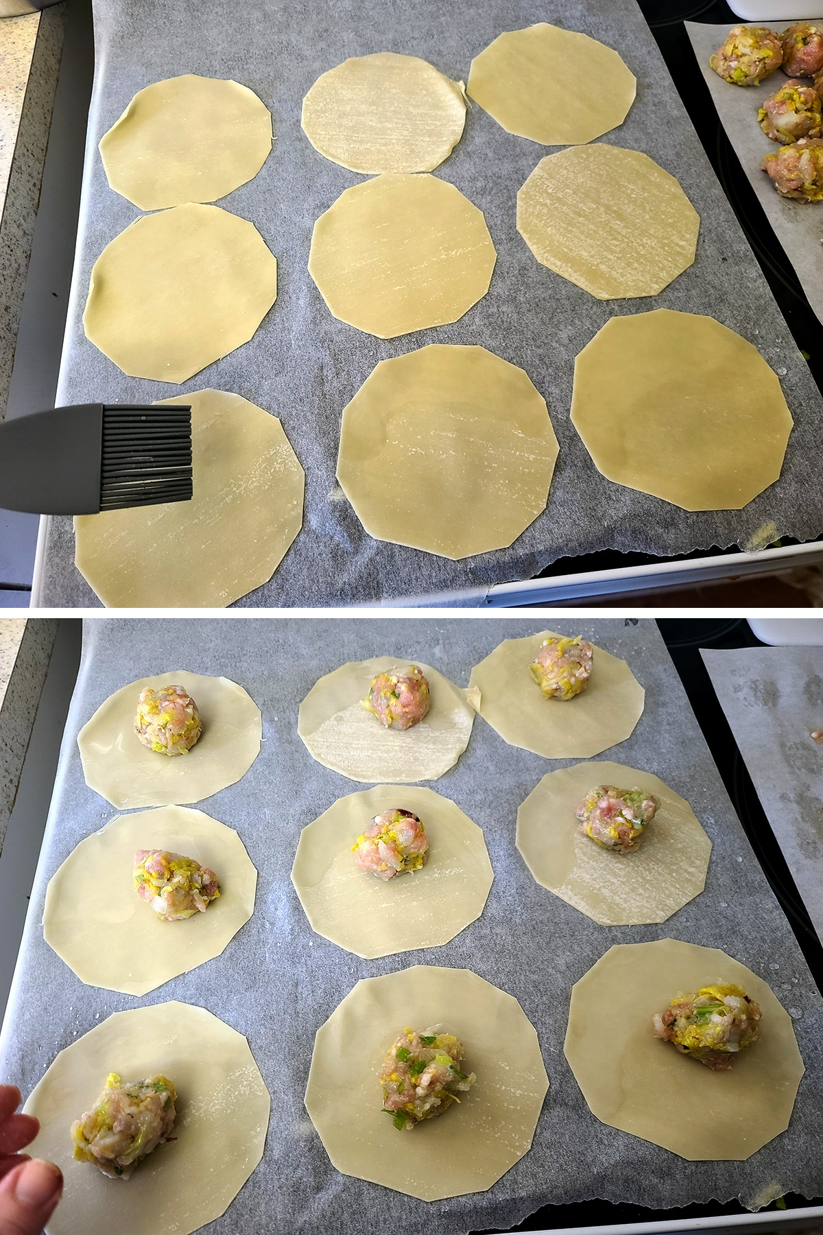 Water is brushed on round gyoza wrappers, and a ball of filling is placed in the center of each wrapper.