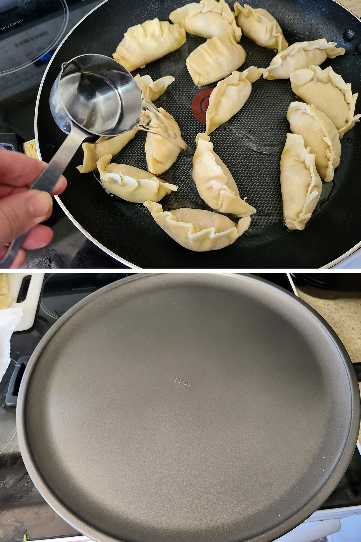 Water is added to the pan, and it is covered.