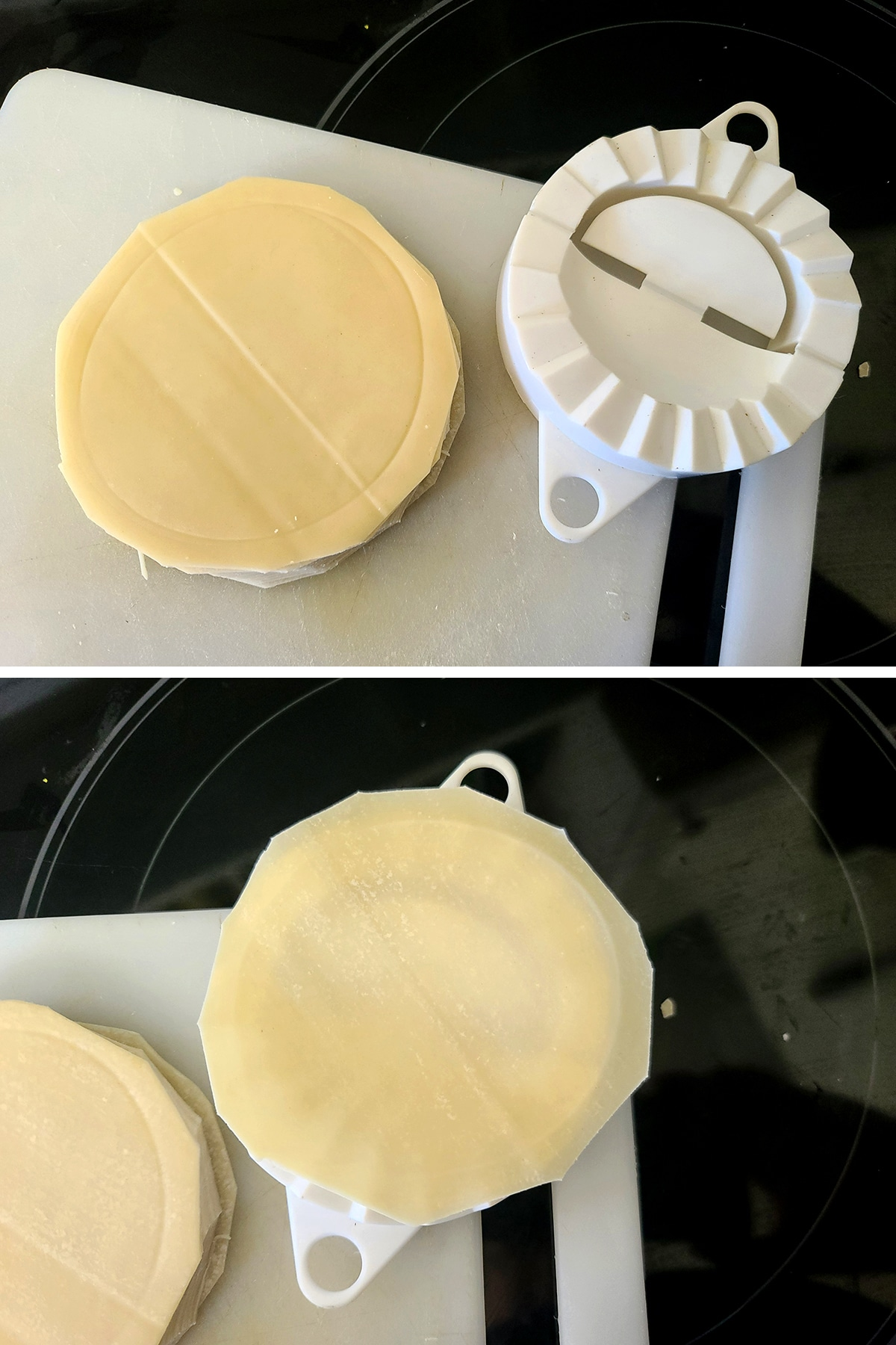 A two part image showing round freehand cut gyoza wrappers being sized up against a gyoza press.