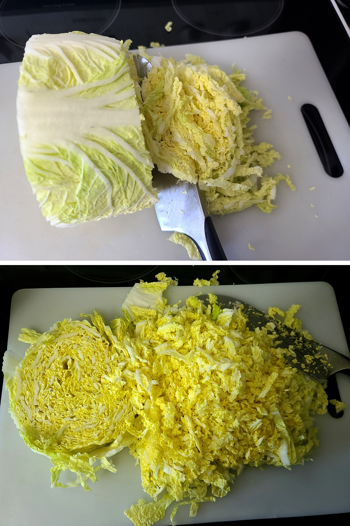 A two part image showing cabbage being finely chopped.