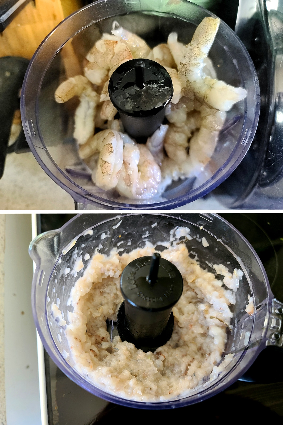 A small food processor with whole shrimp and then finely chopped shrimp.