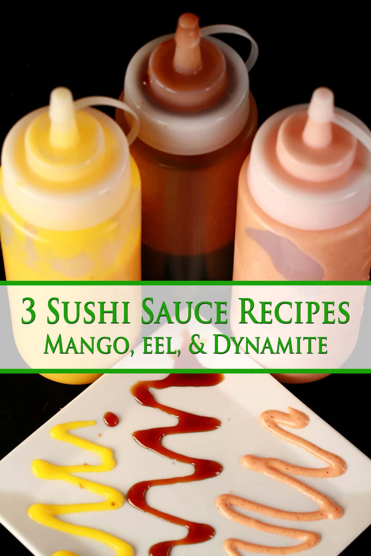 Close up image of 3 bottles of sauce - one yellow, one brown, and one pink. In front of the bottles is a plate of sushi, with the 3 colours of sauce drizzled across the plate in squiggles