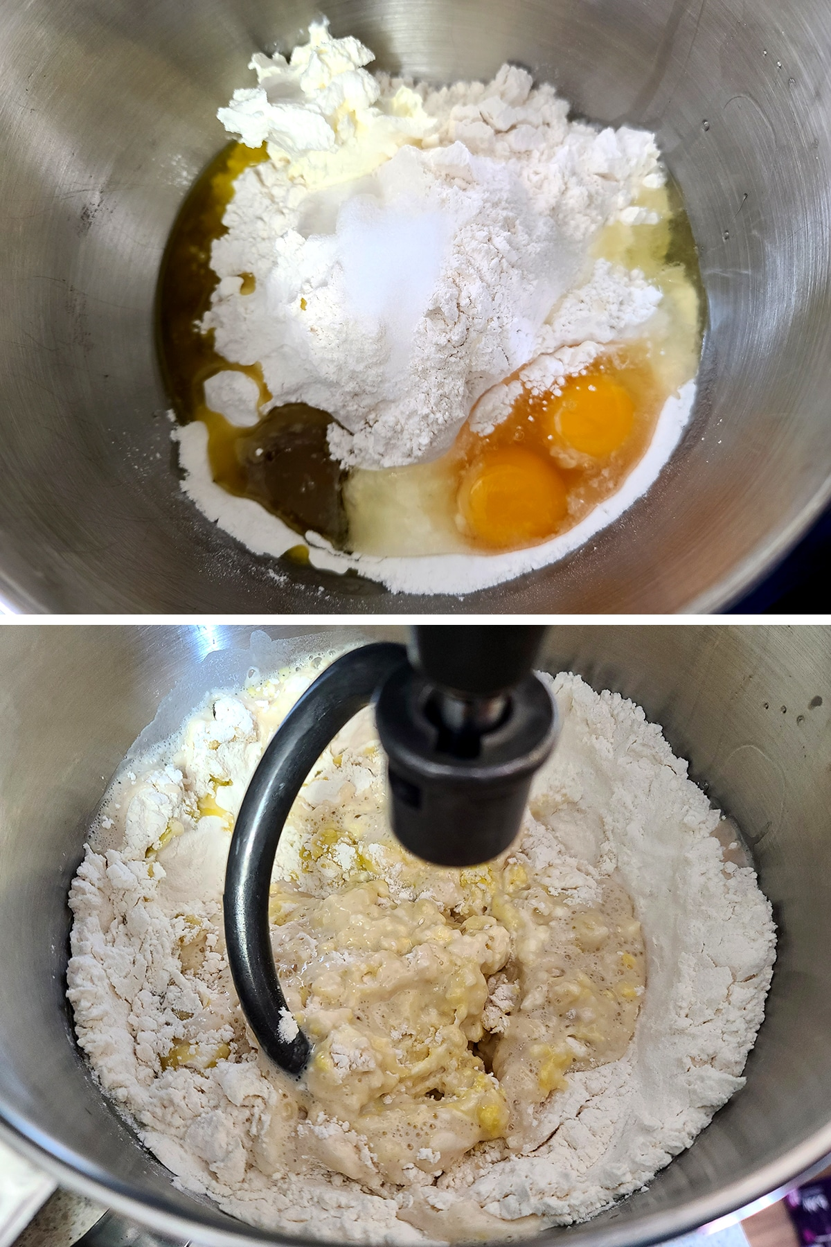 Eggs, oil, and yeast mixture are added to the bowl of a stand mixer.