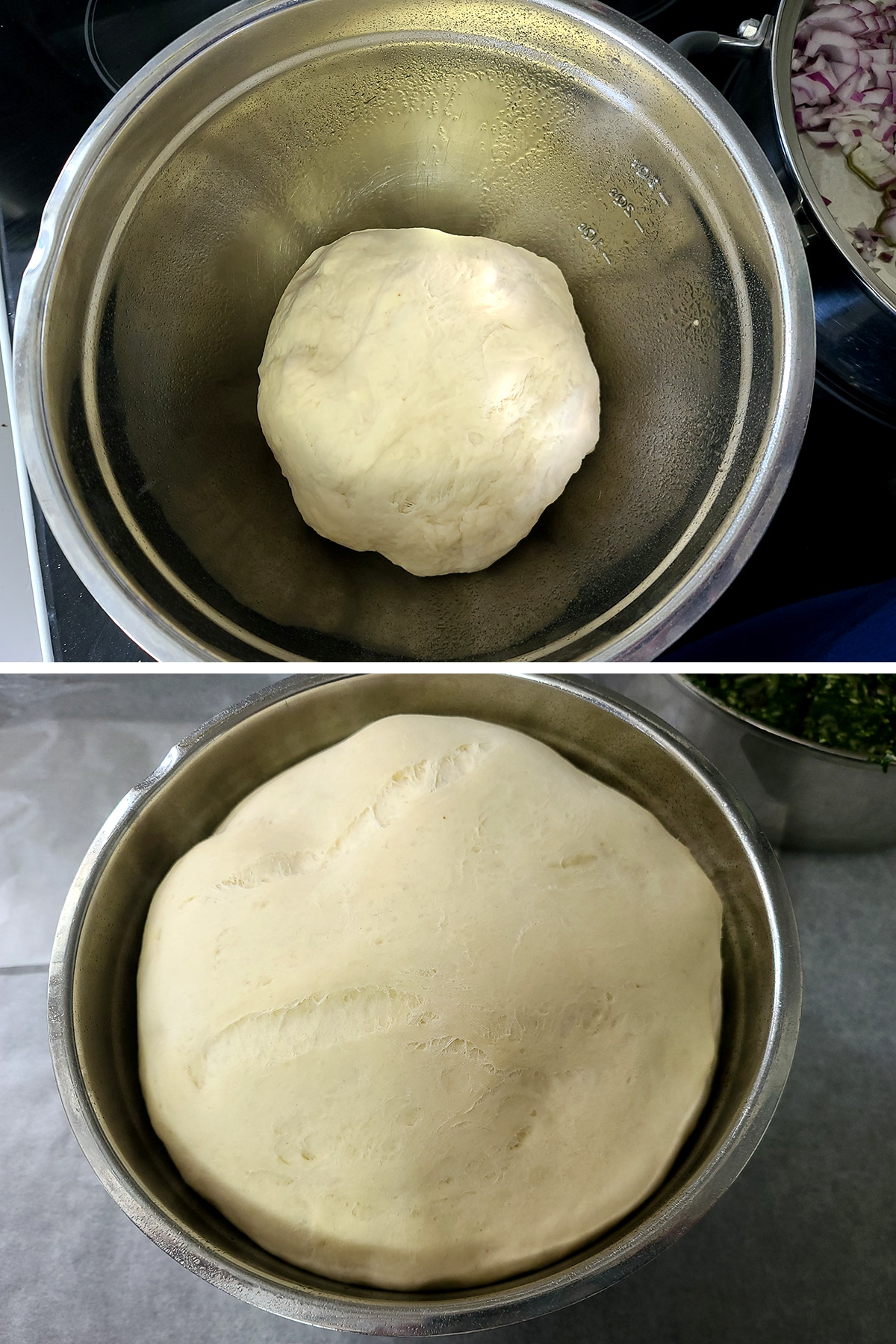 A two part compilation image showing a dough ball in a metal bowl, and that same dough ball after rising - it almost fills the bowl.