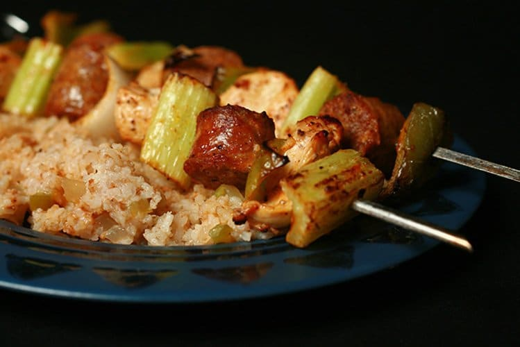 "Jambalaya Skewers with ""Quick and Dirty"" Rice"