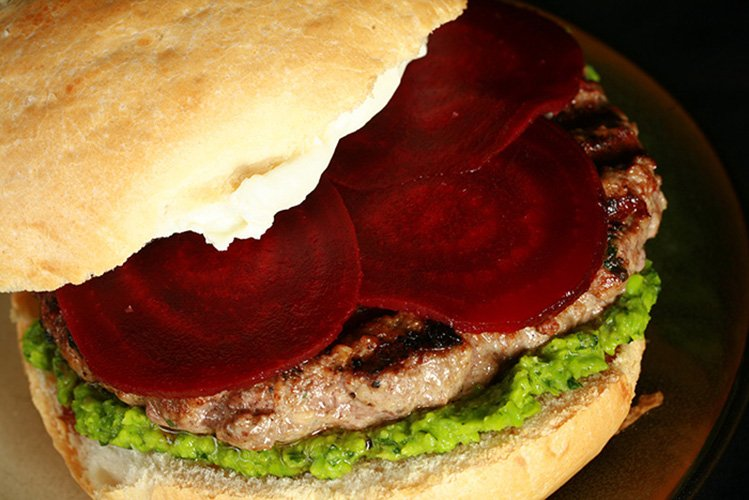Moroccan Spiced Lamb Burgers with Pea Hummus, Goat Cheese, and Beets