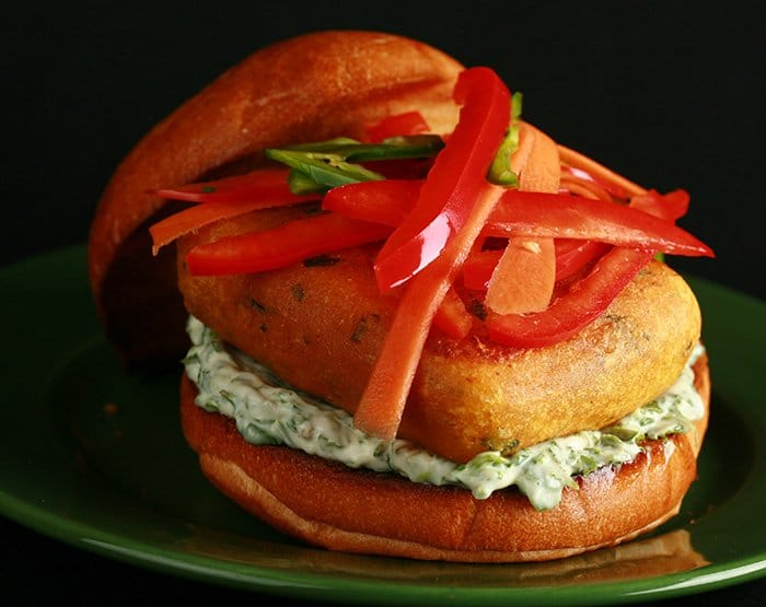 Paneer Burgers with Quick Pickle and Cilantro-Mint Mayo