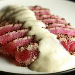 Pepper Crusted Tuna with Wasabi Sauce