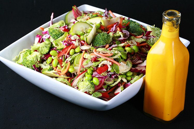 Rainbow Salad with Carrot-Ginger Dressing