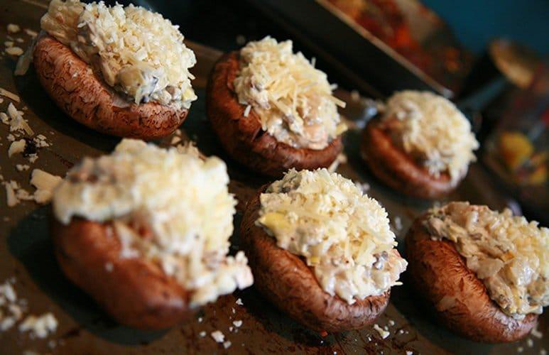 Shrimp and Artichoke Stuffed Mushrooms