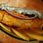 Tandoori Spiced Chicken Burger with Cilantro-Mint Mayo and Mango Slices
