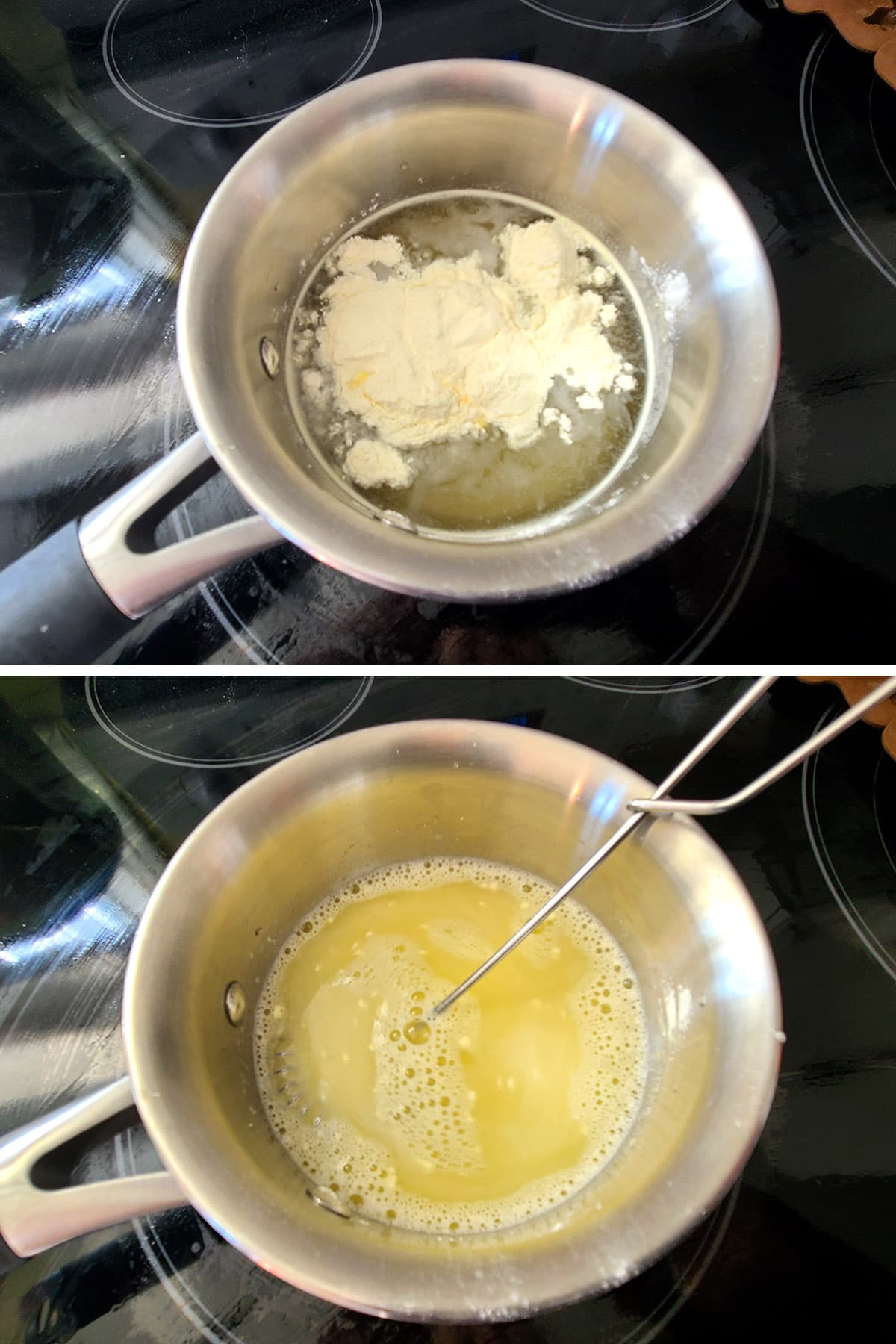 Yellow BCAA powder, before and ater being stirred into the water.