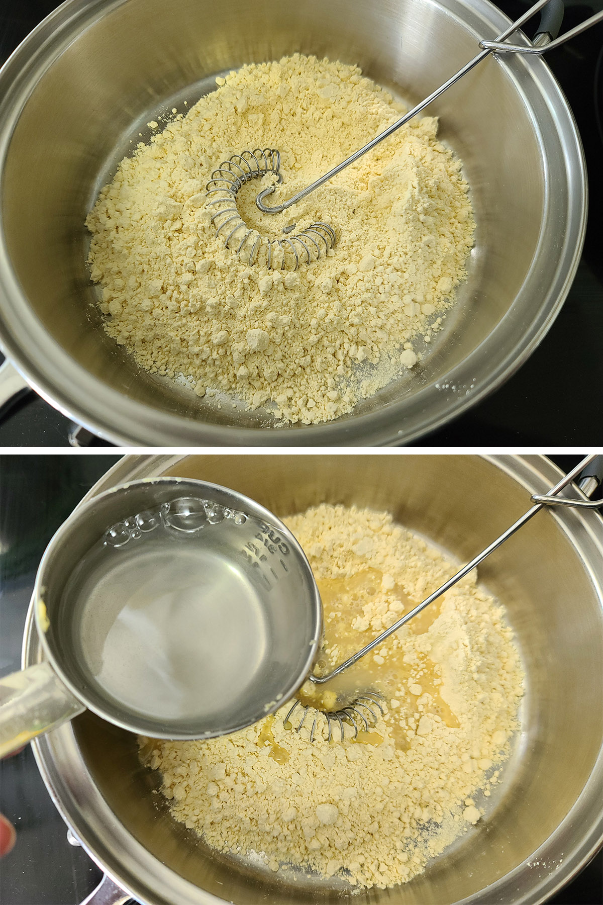 Water is being added to a chickpea flour in a pot.